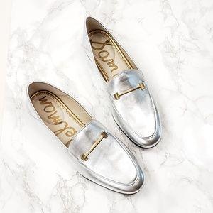 Sam Edelman Lior Silver Leather Horsebit Loafer